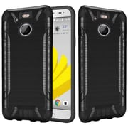 Insten Slim Armor Brushed Metal Design Hybrid Hard TPU Cover Back Case For HTC 10 EVO / Bolt - Black
