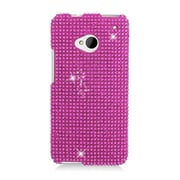 Insten Hard Rhinestone Cover Case For HTC One M7 - Hot Pink