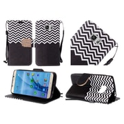 Insten Chevron Flip Leather Fabric Case Lanyard w/stand/Diamond For Samsung Galaxy S7 - Black/White