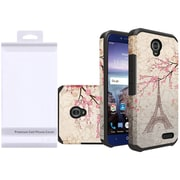 Insten White Eiffel Tower Flowers Slim Dual Layer Hybrid Hard Silicone Cover Protective Case For ZTE Grand X 4