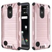 Insten Slim Armor Brushed Metal Design Hybrid Hard PC/Silicone Case For LG Aristo / LV3 - Rose Gold/Black