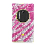 Insten Zebra Hard Diamond Case For Nokia Lumia 1020 - Hot Pink/Silver