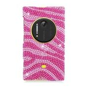 Insten Zebra Hard Rhinestone Cover Case For Nokia Lumia 1020 - Hot Pink/Pink