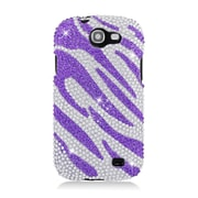 Insten Zebra Hard Bling Case For Samsung Galaxy Express SGH-i437 - Purple/Silver