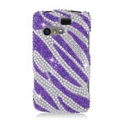 Insten Zebra Hard Diamante Case For Kyocera Rise C5155 - Purple/Silver