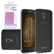 Insten Frosted Rubber Cover Case with Screen Protector For Alcatel One Touch Fierce 4 / Pop 4 Plus - Black