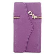 Insten Folio Leather Fabric Case w/card holder For HTC Desire 520 - Purple
