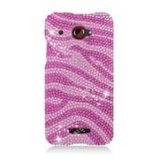 Insten Zebra Hard Diamante Case For HTC Droid DNA - Hot Pink/Pink