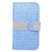 Insten Leather Wallet Rhinestone Case with Card slot For Samsung Galaxy Avant - Light Blue/Silver