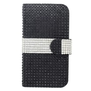 Insten Leather Wallet Diamond Case with Card slot For Samsung Galaxy Avant - Black/Silver