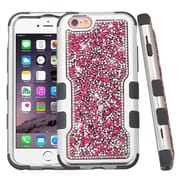 Insten Hard Dual Layer Bling Silicone Case For Apple iPhone 6s Plus / 6 Plus - Hot Pink/Black