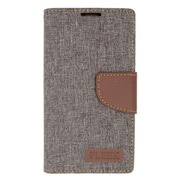 Insten Book-Style Leather Fabric Stand Card Case w/ Photo Display for LG Volt 2 - Gray/Brown