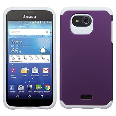 Insten Hard Hybrid Rugged Shockproof Rubber Silicone Cover Case For Kyocera Hydro Wave - Purple/White