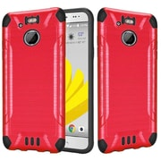 Insten Slim Armor Brushed Metal Design Hybrid Hard TPU Cover Back Case For HTC 10 EVO / Bolt - Red/Black
