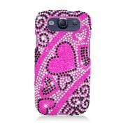 Insten Hearts Hard Rhinestone Case For Samsung Galaxy S3 - Pink