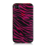 Insten Hard Rubber Case For Apple iPhone 4 / 4S - Hot Pink/Black