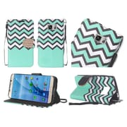 Insten Chevron Flip Leather Fabric Case Lanyard w/stand/Diamond For Samsung Galaxy S7 - Teal/White