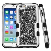 Insten Hard Dual Layer Rhinestone Silicone Case For Apple iPhone 6 / 6s - Black