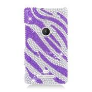 Insten Zebra Hard Bling Cover Case For Nokia Lumia 925 - Purple/Silver