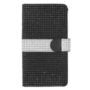 Insten Flip Leather Bling Cover Case w/ Card Holder for ZTE Grand X Max - Black/Silver