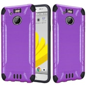 Insten Slim Armor Brushed Metal Design Hybrid Hard TPU Cover Back Case For HTC 10 EVO / Bolt - Purple/Black