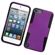Insten TPU Rubber Hard PC Candy Skin Mesh Case Cover For Apple iPod Touch 5th Gen - Purple/Black
