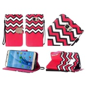Insten Chevron Flip Leather Fabric Case Lanyard w/stand/Diamond For Samsung Galaxy S7 - Red/White