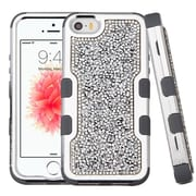 Insten Hard Dual Layer Diamond Silicone Cover Case For Apple iPhone SE / 5 / 5S - Silver/Black