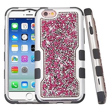 Insten Hard Dual Layer Diamante Silicone Cover Case For Apple iPhone 6 / 6s - Hot Pink/Black