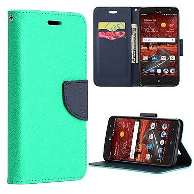 Insten Diary Leather Wallet Flip Credit Card Stand Case For ZTE Grand X 4 - Teal/Navy Blue