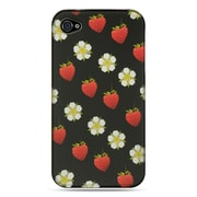 Insten Hard Crystal Rubber Skin Protective Shell Case For Apple iPhone 4 / 4S - Black Strawberry