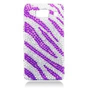 Insten Zebra Hard Diamond Case For Motorola Droid Razr HD XT926 - Purple/Silver