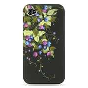 Insten Hard Crystal Rubber Skin Protective Shell Case For Apple iPhone 4 / 4S - Black Blueberry