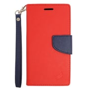 Insten Folio Leather Fabric Cover Stand Credit Card Case Lanyard for LG V10 - Red/Blue