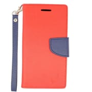 Insten Flip Leather Fabric Cover Stand Credit Card Case Lanyard for Alcatel One Touch Conquest - Red/Blue