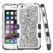 Insten Hard Dual Layer Bling Silicone Case For Apple iPhone 6s Plus / 6 Plus - Silver/Black