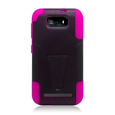 Insten Hard Dual Layer Plastic Silicone Cover Case w/stand For BLU Studio 5.5 - Black/Hot Pink