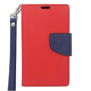 Insten Flip Leather Fabric Cover Credit Card Stand Case Lanyard for Nokia Lumia 521 - Red/Blue