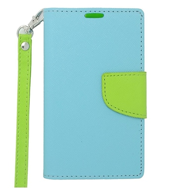 Insten Folio Leather Fabric Credit Card Stand Case Lanyard for Nokia Lumia 521 - Blue/Green