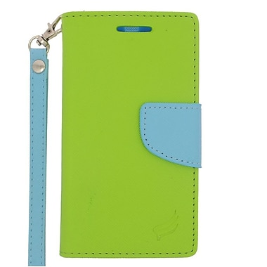 Insten Wallet Leather Stand Case with Lanyard & Card slot For Motorola Moto E (2nd Gen) - Green/Light Blue