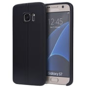 Insten Leather Look Finish Slim Jacket TPU Skin Rubber Gel Case For Samsung Galaxy S7 - Black