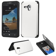 Insten Hard Rubber Cover Case w/card slot For Alcatel One Touch Fierce XL - Silver