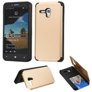 Insten Hard Rubber Cover Case w/card slot For Alcatel One Touch Fierce XL - Gold