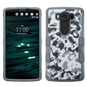 Insten Tuff Camouflage Hard Dual Layer Rubber Coated Silicone Cover Case For LG V10 - Gray/Black