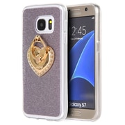 Insten Golden Diamond Ring Stand TPU Skin Rubber Gel Case For Samsung Galaxy S7 - Purple