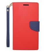 Insten Book-Style Leather Fabric Cover Credit Card Stand Case Lanyard for Motorola Google Nexus 6 - Red/Blue
