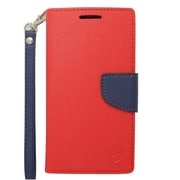 Insten Folio Leather Fabric Cover Credit Card Stand Case Lanyard for Motorola Moto G (2nd Gen) - Red/Blue