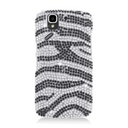 Insten Zebra Hard Rhinestone Case For Pantech Flex P8010 - Black/Silver