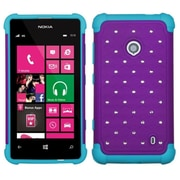 Insten Purple/Tropical Teal Hard & Soft Rubber Diamond Bling Case For Nokia Lumia 521