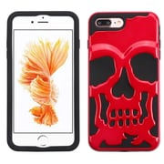 Insten Skullcap Hybrid Hard PC/Silicone Case (Military-Grade Certified) For Apple iPhone 7 Plus - Solid Red/Black